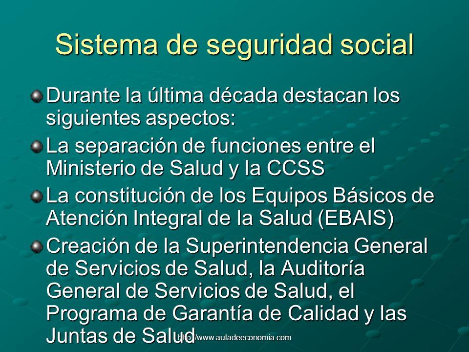 http://www.auladeeconomia.com Sistema de seguridad social Durante la última década destacan los siguientes aspectos: La separación de funciones entre