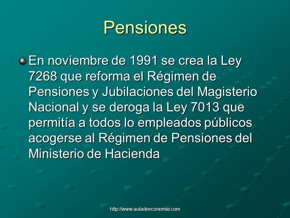 http://www.auladeeconomia.com Pensiones En noviembre de 1991 se crea la Ley 7268 que reforma el Régimen de Pensiones y Jubilaciones del Magisterio Nac