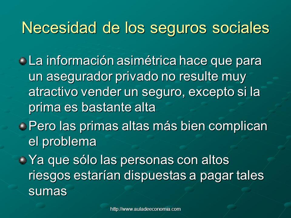 http://www.auladeeconomia.com Necesidad de los seguros sociales La información asimétrica hace que para un asegurador privado no resulte muy atractivo