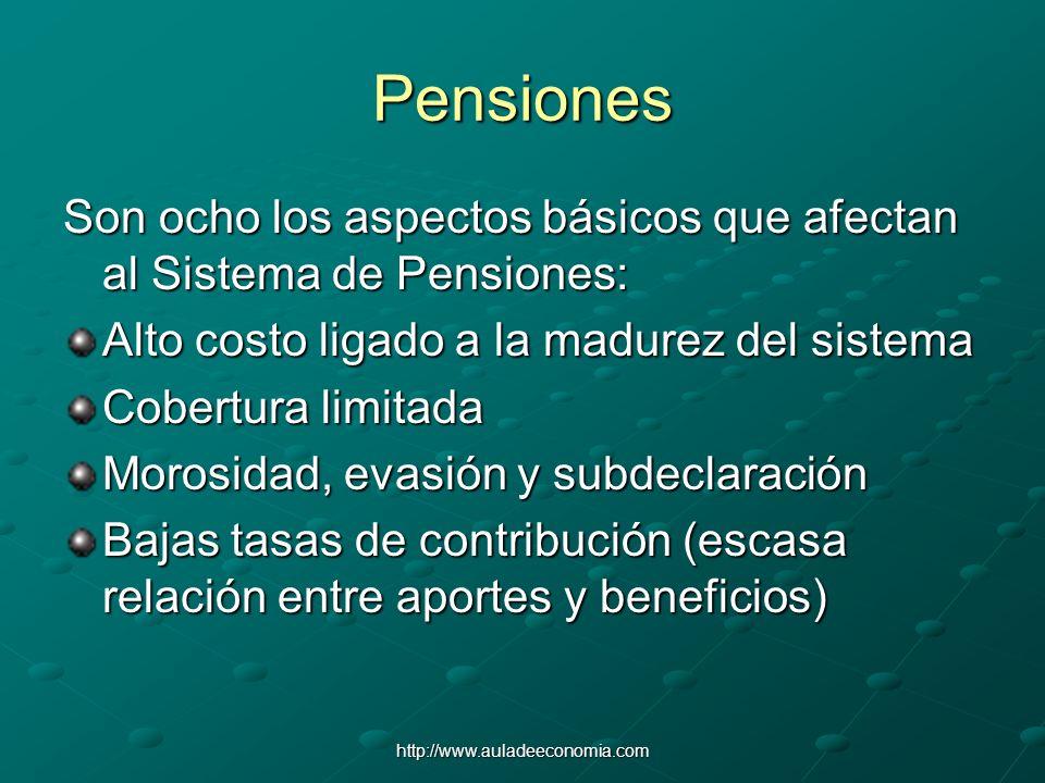 http://www.auladeeconomia.com Pensiones Son ocho los aspectos básicos que afectan al Sistema de Pensiones: Alto costo ligado a la madurez del sistema