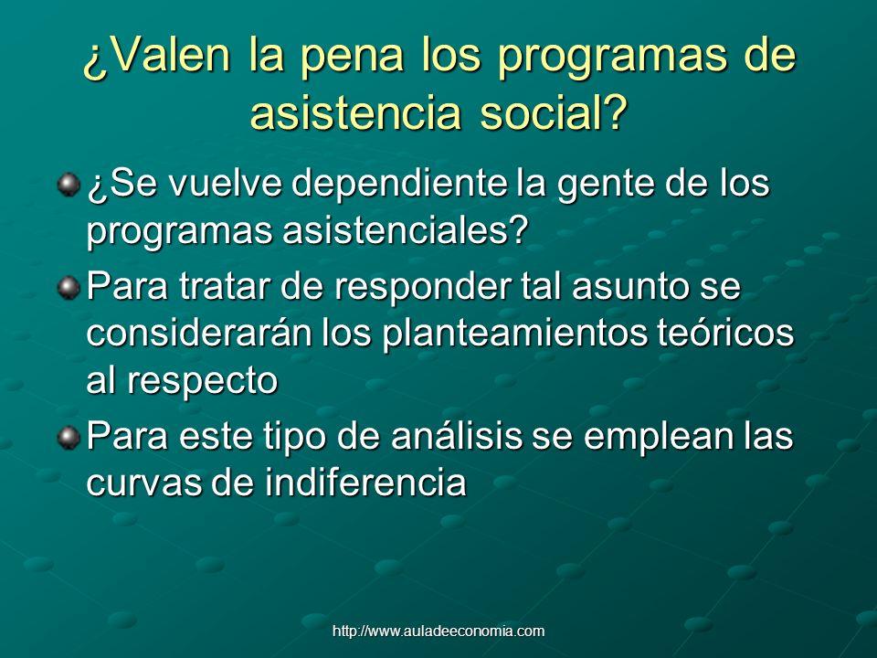 http://www.auladeeconomia.com ¿Valen la pena los programas de asistencia social? ¿Se vuelve dependiente la gente de los programas asistenciales? Para