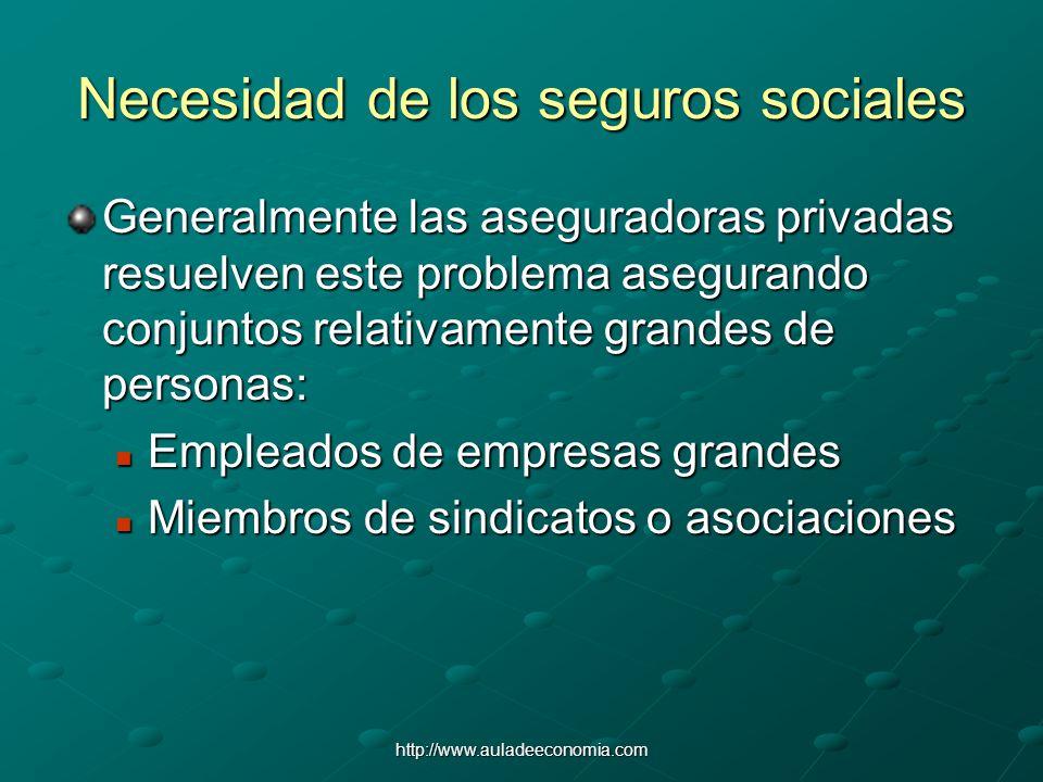 http://www.auladeeconomia.com Necesidad de los seguros sociales Generalmente las aseguradoras privadas resuelven este problema asegurando conjuntos re