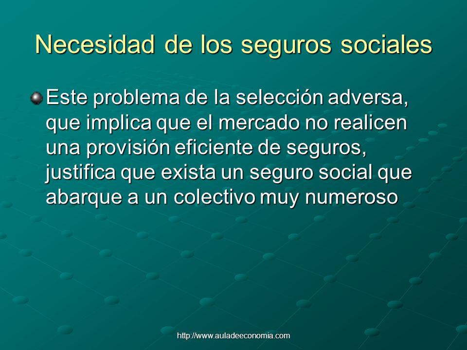 http://www.auladeeconomia.com Necesidad de los seguros sociales Este problema de la selección adversa, que implica que el mercado no realicen una prov