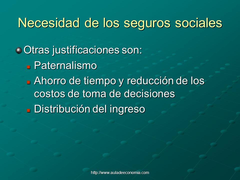 http://www.auladeeconomia.com Necesidad de los seguros sociales Otras justificaciones son: Paternalismo Paternalismo Ahorro de tiempo y reducción de l