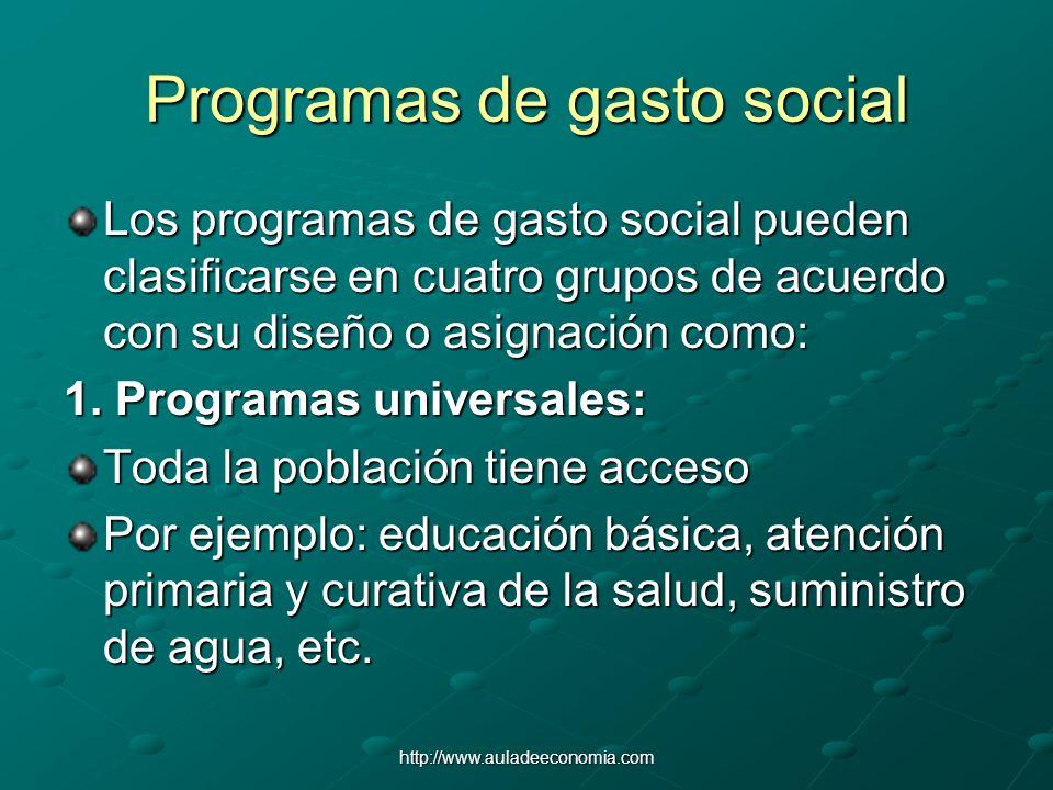 http://www.auladeeconomia.com Programas de gasto social Los programas de gasto social pueden clasificarse en cuatro grupos de acuerdo con su diseño o