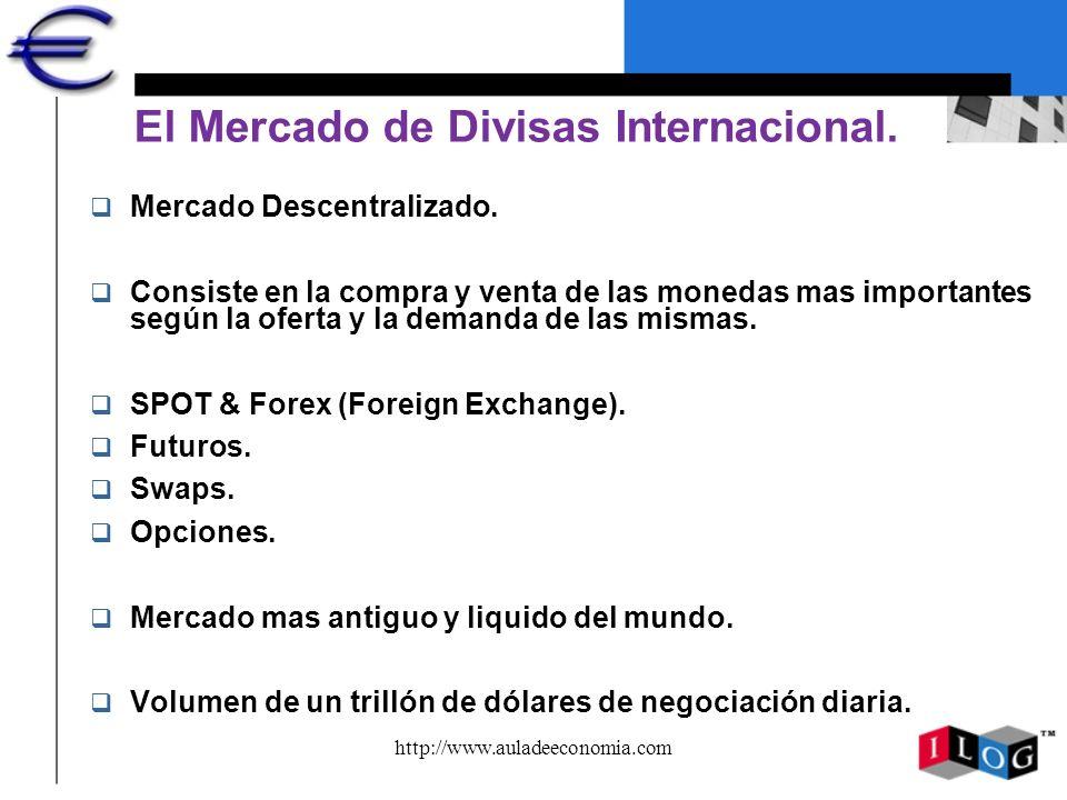 http://www.auladeeconomia.com El Mercado de Divisas Internacional. q Mercado Descentralizado. q Consiste en la compra y venta de las monedas mas impor