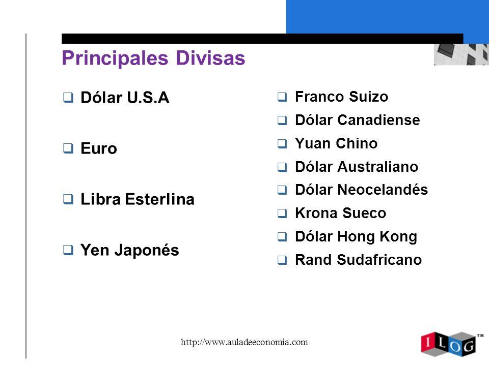 http://www.auladeeconomia.com Principales Divisas q Dólar U.S.A q Euro q Libra Esterlina q Yen Japonés q Franco Suizo q Dólar Canadiense q Yuan Chino