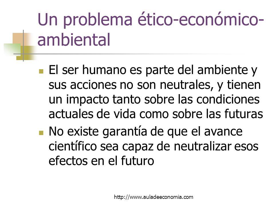 http://www.auladeeconomia.com Un problema ético-económico- ambiental El ser humano es parte del ambiente y sus acciones no son neutrales, y tienen un impacto tanto sobre las condiciones actuales de vida como sobre las futuras No existe garantía de que el avance científico sea capaz de neutralizar esos efectos en el futuro
