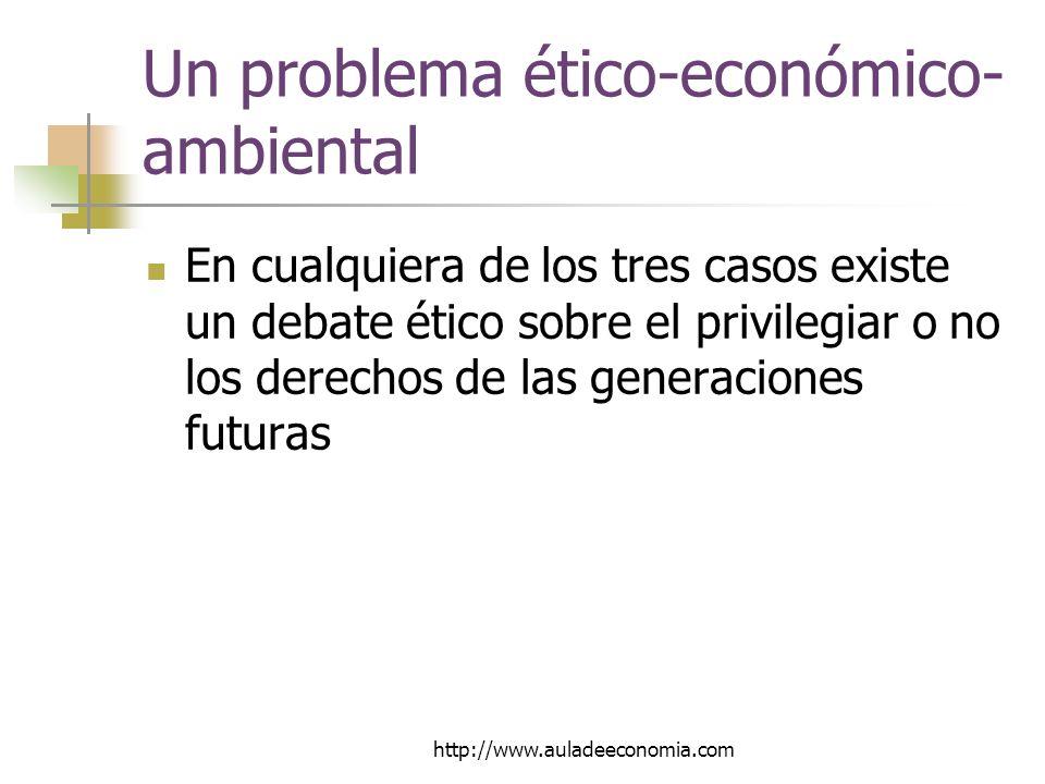 http://www.auladeeconomia.com Un problema ético-económico- ambiental En cualquiera de los tres casos existe un debate ético sobre el privilegiar o no los derechos de las generaciones futuras