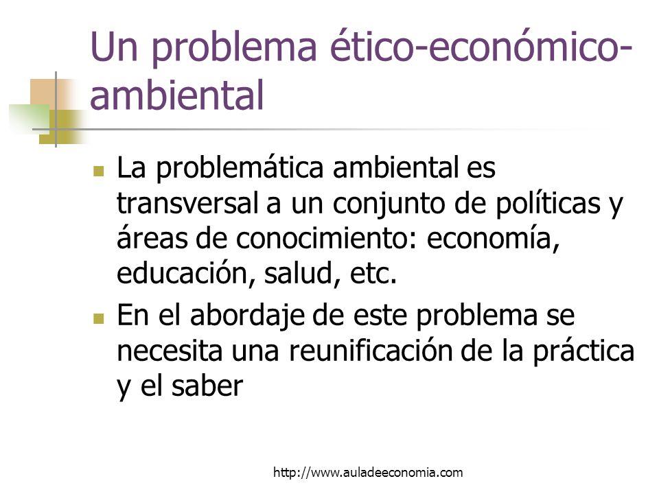 http://www.auladeeconomia.com Un problema ético-económico- ambiental La problemática ambiental es transversal a un conjunto de políticas y áreas de conocimiento: economía, educación, salud, etc.