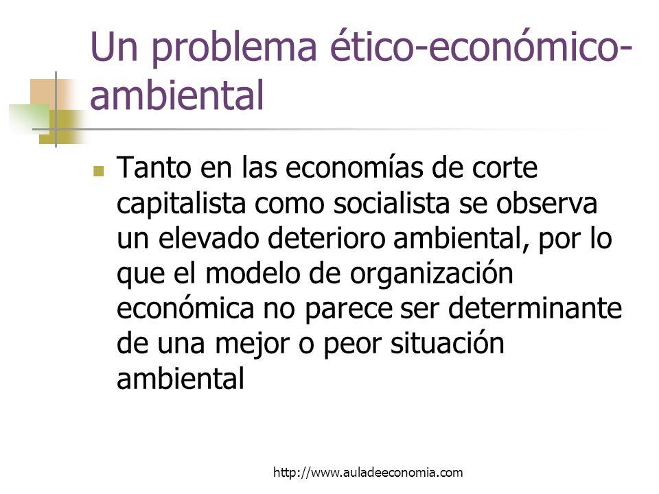 http://www.auladeeconomia.com Un problema ético-económico- ambiental Tanto en las economías de corte capitalista como socialista se observa un elevado deterioro ambiental, por lo que el modelo de organización económica no parece ser determinante de una mejor o peor situación ambiental