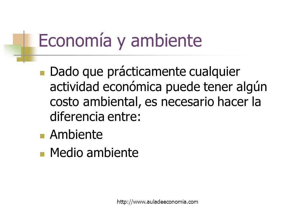 http://www.auladeeconomia.com Economía y ambiente Dado que prácticamente cualquier actividad económica puede tener algún costo ambiental, es necesario hacer la diferencia entre: Ambiente Medio ambiente
