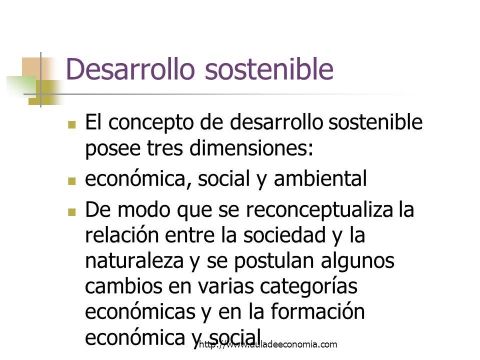 http://www.auladeeconomia.com Desarrollo sostenible El concepto de desarrollo sostenible posee tres dimensiones: económica, social y ambiental De modo que se reconceptualiza la relación entre la sociedad y la naturaleza y se postulan algunos cambios en varias categorías económicas y en la formación económica y social
