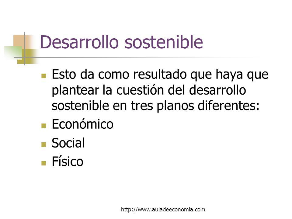 http://www.auladeeconomia.com Desarrollo sostenible Esto da como resultado que haya que plantear la cuestión del desarrollo sostenible en tres planos diferentes: Económico Social Físico