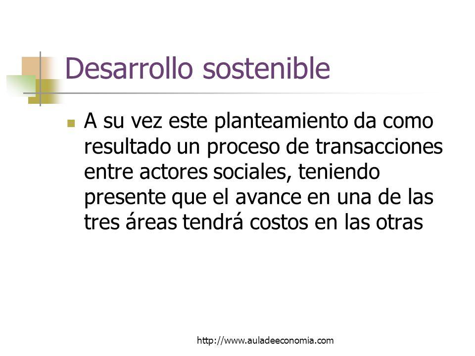 http://www.auladeeconomia.com Desarrollo sostenible A su vez este planteamiento da como resultado un proceso de transacciones entre actores sociales, teniendo presente que el avance en una de las tres áreas tendrá costos en las otras