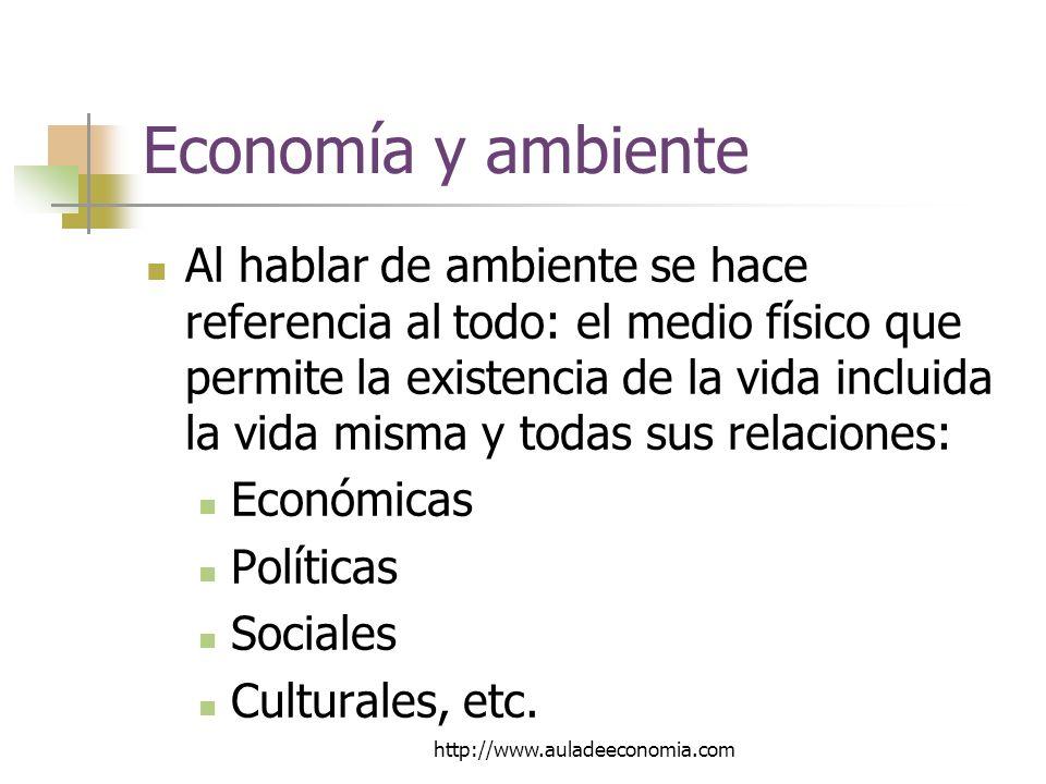 http://www.auladeeconomia.com Economía y ambiente Al hablar de ambiente se hace referencia al todo: el medio físico que permite la existencia de la vida incluida la vida misma y todas sus relaciones: Económicas Políticas Sociales Culturales, etc.