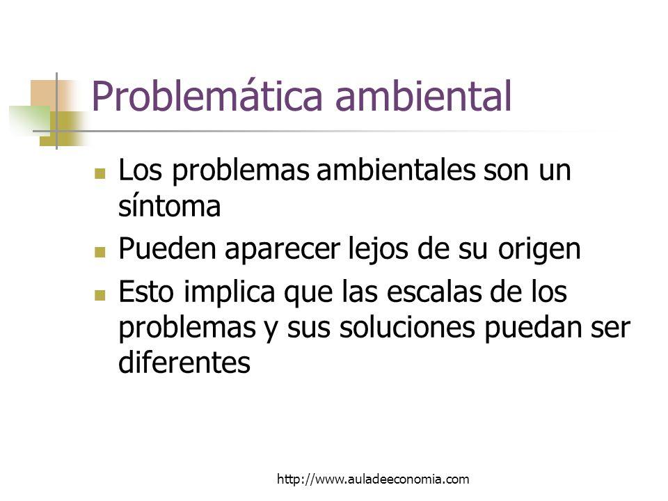 http://www.auladeeconomia.com Problemática ambiental Los problemas ambientales son un síntoma Pueden aparecer lejos de su origen Esto implica que las escalas de los problemas y sus soluciones puedan ser diferentes
