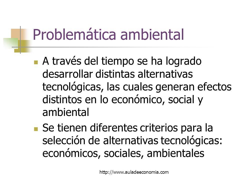 http://www.auladeeconomia.com Problemática ambiental A través del tiempo se ha logrado desarrollar distintas alternativas tecnológicas, las cuales generan efectos distintos en lo económico, social y ambiental Se tienen diferentes criterios para la selección de alternativas tecnológicas: económicos, sociales, ambientales