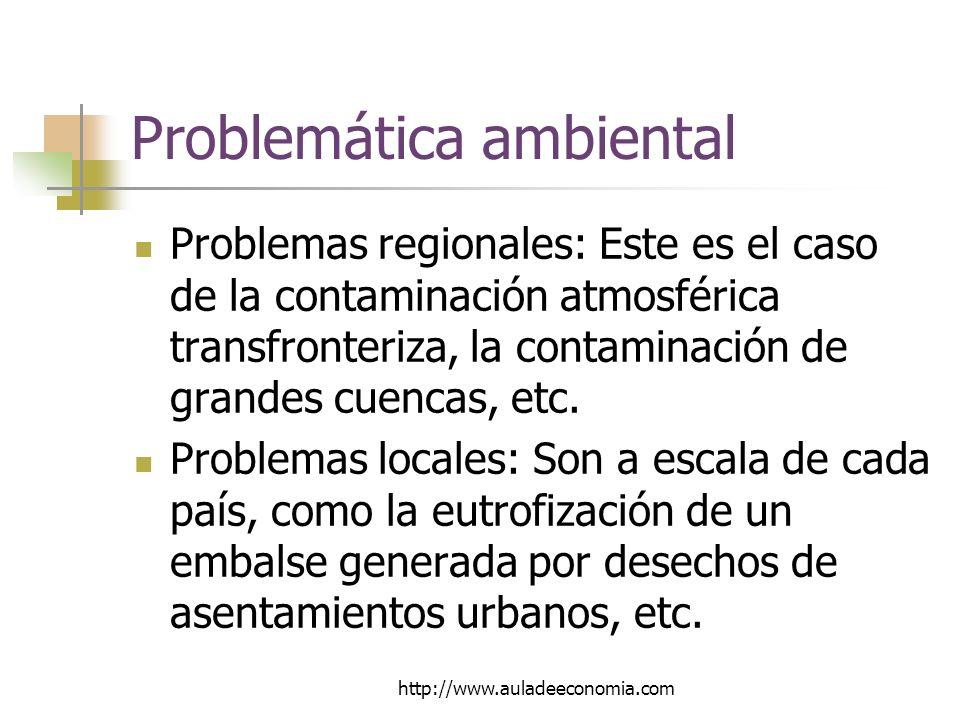 http://www.auladeeconomia.com Problemática ambiental Problemas regionales: Este es el caso de la contaminación atmosférica transfronteriza, la contaminación de grandes cuencas, etc.