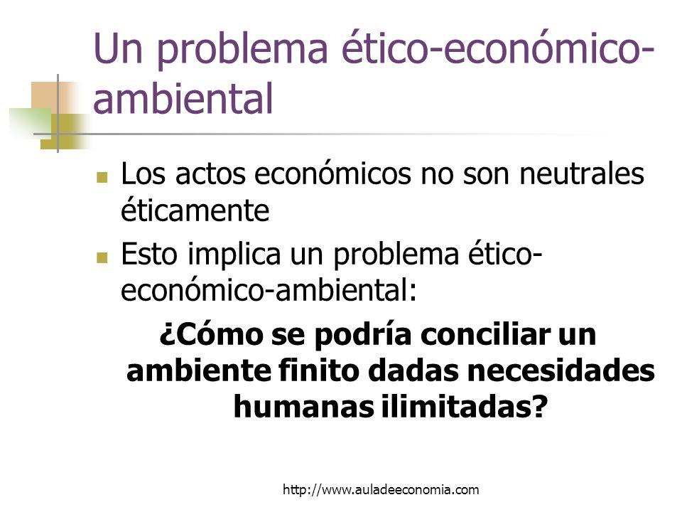 http://www.auladeeconomia.com Un problema ético-económico- ambiental Los actos económicos no son neutrales éticamente Esto implica un problema ético- económico-ambiental: ¿Cómo se podría conciliar un ambiente finito dadas necesidades humanas ilimitadas?