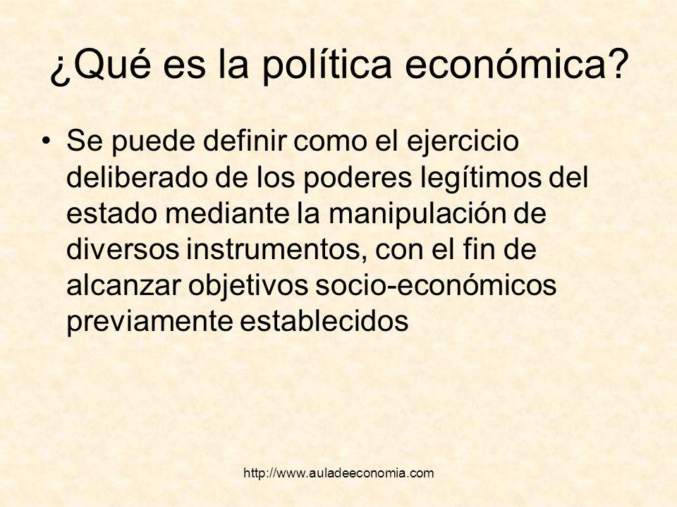 http://www.auladeeconomia.com ¿Qué es la política económica? Se puede definir como el ejercicio deliberado de los poderes legítimos del estado mediant