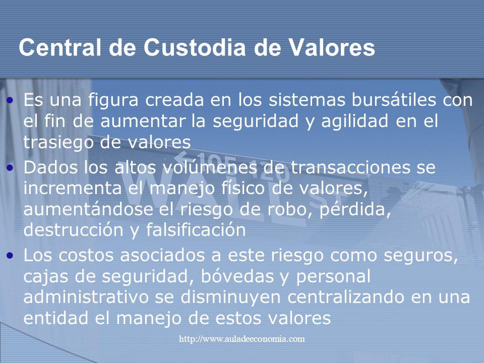 http://www.auladeeconomia.com Central de Custodia de Valores Es una figura creada en los sistemas bursátiles con el fin de aumentar la seguridad y agi