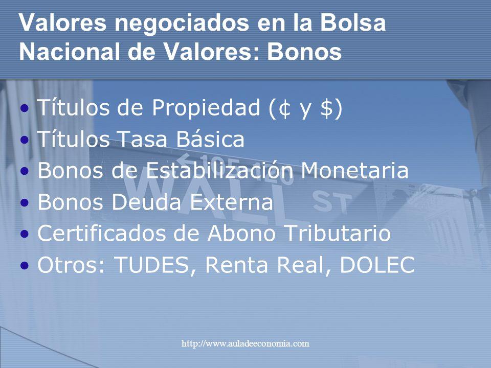 http://www.auladeeconomia.com Valores negociados en la Bolsa Nacional de Valores: Bonos Títulos de Propiedad (¢ y $) Títulos Tasa Básica Bonos de Esta
