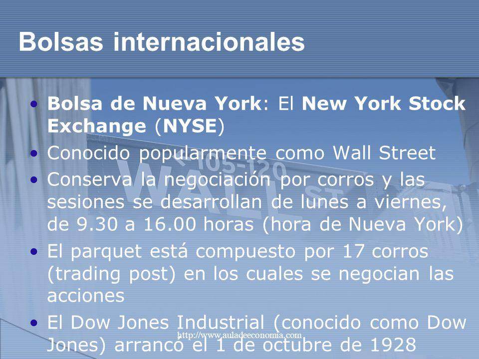 http://www.auladeeconomia.com Bolsas internacionales Bolsa de Nueva York: El New York Stock Exchange (NYSE) Conocido popularmente como Wall Street Con