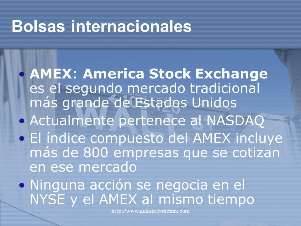 http://www.auladeeconomia.com Bolsas internacionales AMEX: America Stock Exchange es el segundo mercado tradicional más grande de Estados Unidos Actua