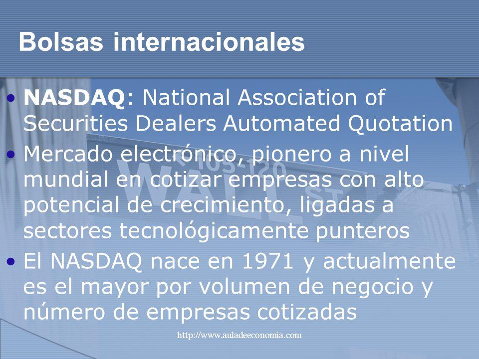 http://www.auladeeconomia.com Bolsas internacionales NASDAQ: National Association of Securities Dealers Automated Quotation Mercado electrónico, pione