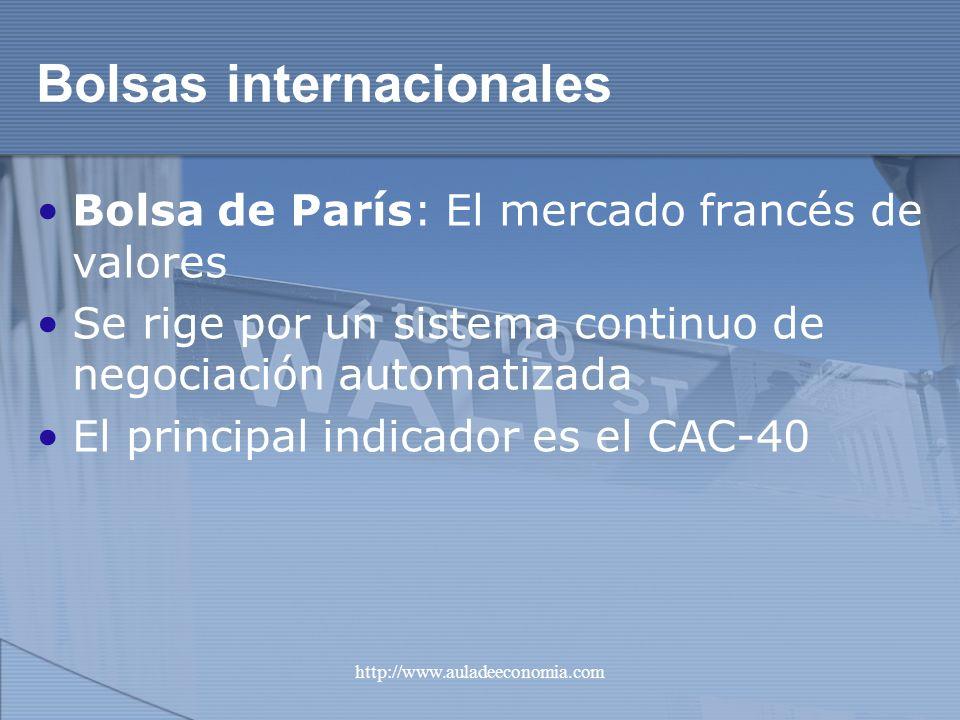 http://www.auladeeconomia.com Bolsas internacionales Bolsa de París: El mercado francés de valores Se rige por un sistema continuo de negociación auto