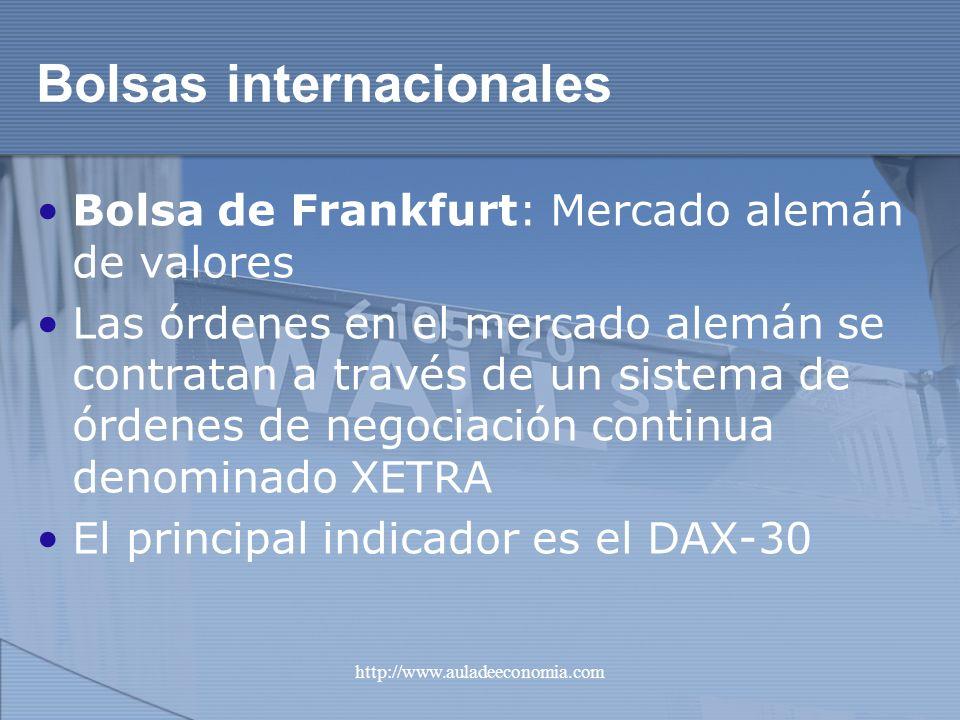 http://www.auladeeconomia.com Bolsas internacionales Bolsa de Frankfurt: Mercado alemán de valores Las órdenes en el mercado alemán se contratan a tra