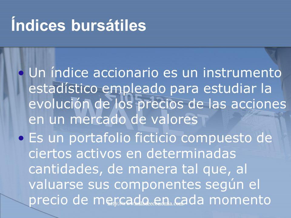 http://www.auladeeconomia.com Índices bursátiles Un índice accionario es un instrumento estadístico empleado para estudiar la evolución de los precios