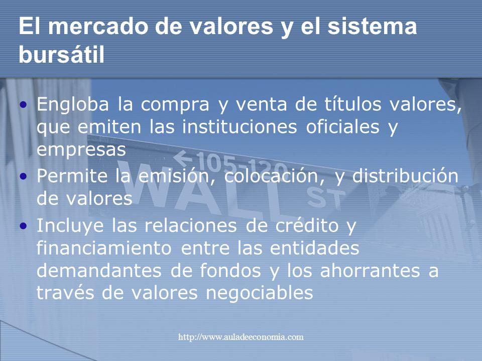 http://www.auladeeconomia.com El mercado de valores y el sistema bursátil Engloba la compra y venta de títulos valores, que emiten las instituciones o