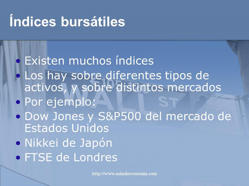 http://www.auladeeconomia.com Índices bursátiles Existen muchos índices Los hay sobre diferentes tipos de activos, y sobre distintos mercados Por ejem