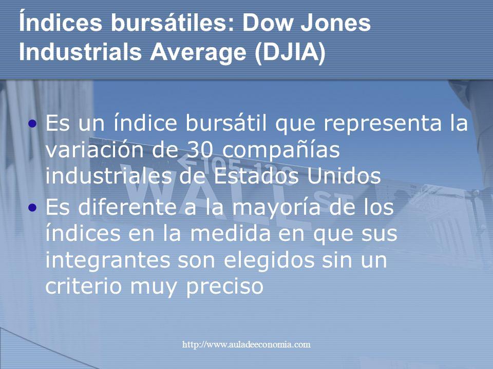 http://www.auladeeconomia.com Índices bursátiles: Dow Jones Industrials Average (DJIA) Es un índice bursátil que representa la variación de 30 compañí