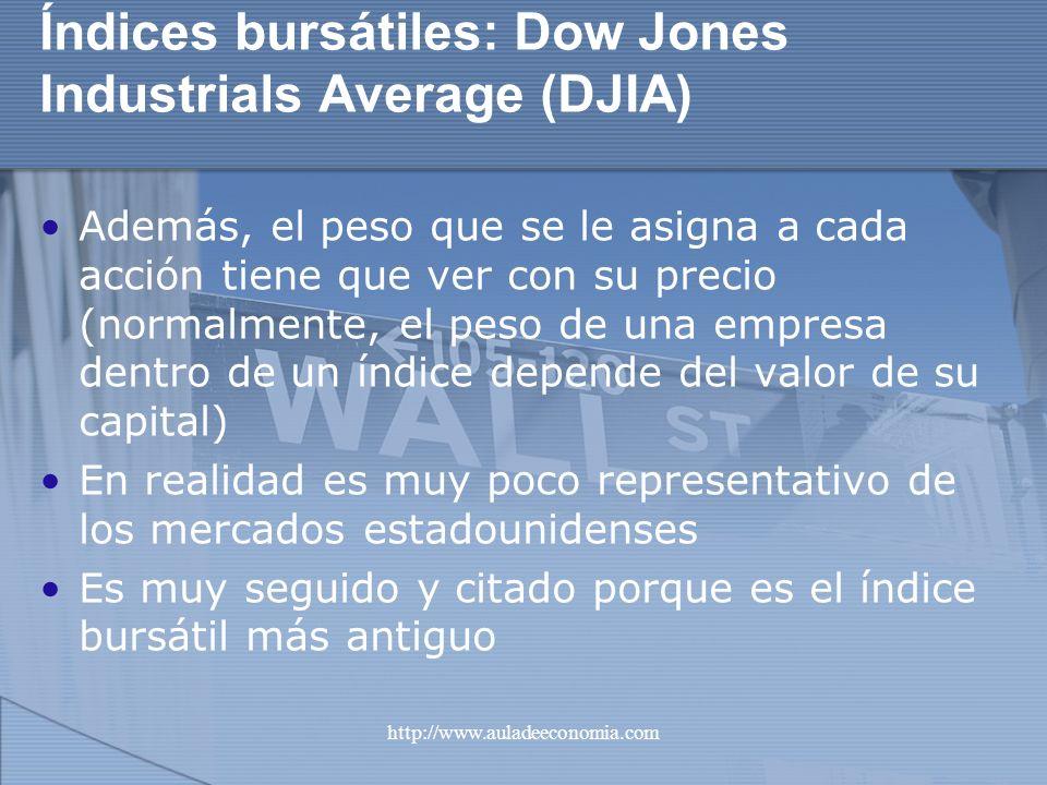 http://www.auladeeconomia.com Índices bursátiles: Dow Jones Industrials Average (DJIA) Además, el peso que se le asigna a cada acción tiene que ver co