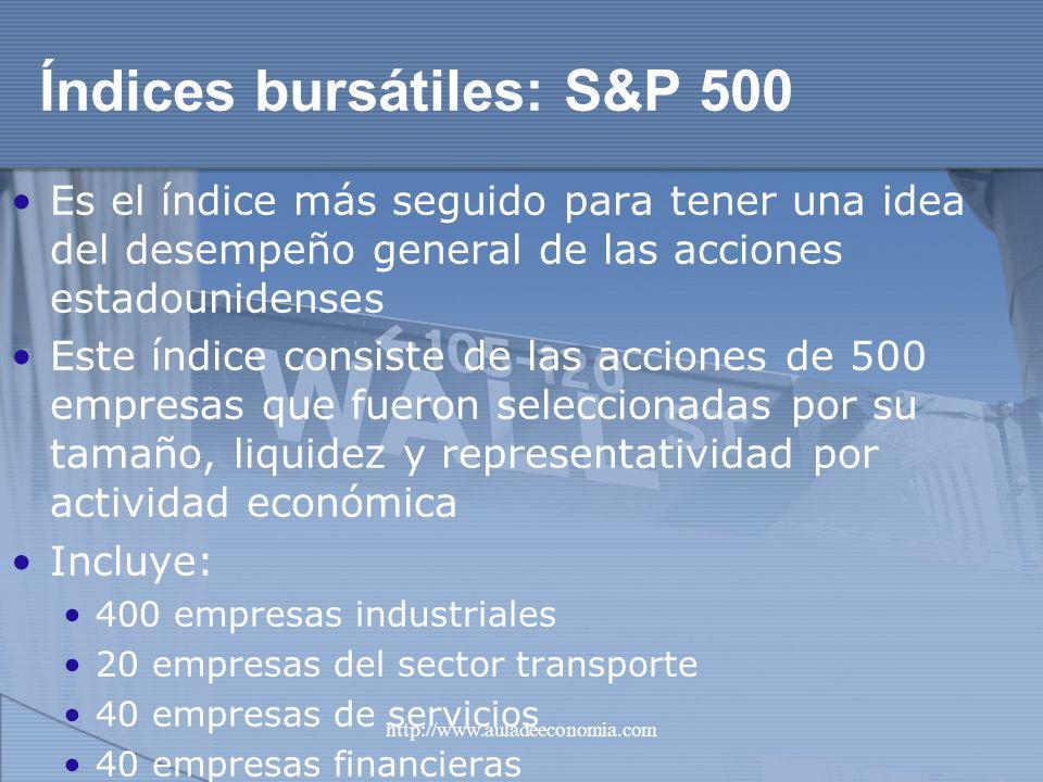 http://www.auladeeconomia.com Índices bursátiles: S&P 500 Es el índice más seguido para tener una idea del desempeño general de las acciones estadouni