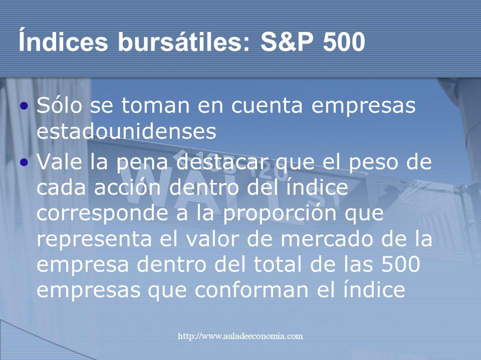http://www.auladeeconomia.com Índices bursátiles: S&P 500 Sólo se toman en cuenta empresas estadounidenses Vale la pena destacar que el peso de cada a