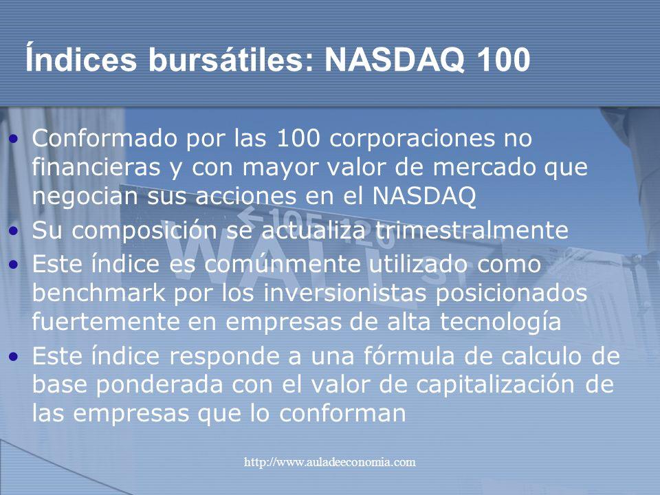 http://www.auladeeconomia.com Índices bursátiles: NASDAQ 100 Conformado por las 100 corporaciones no financieras y con mayor valor de mercado que nego
