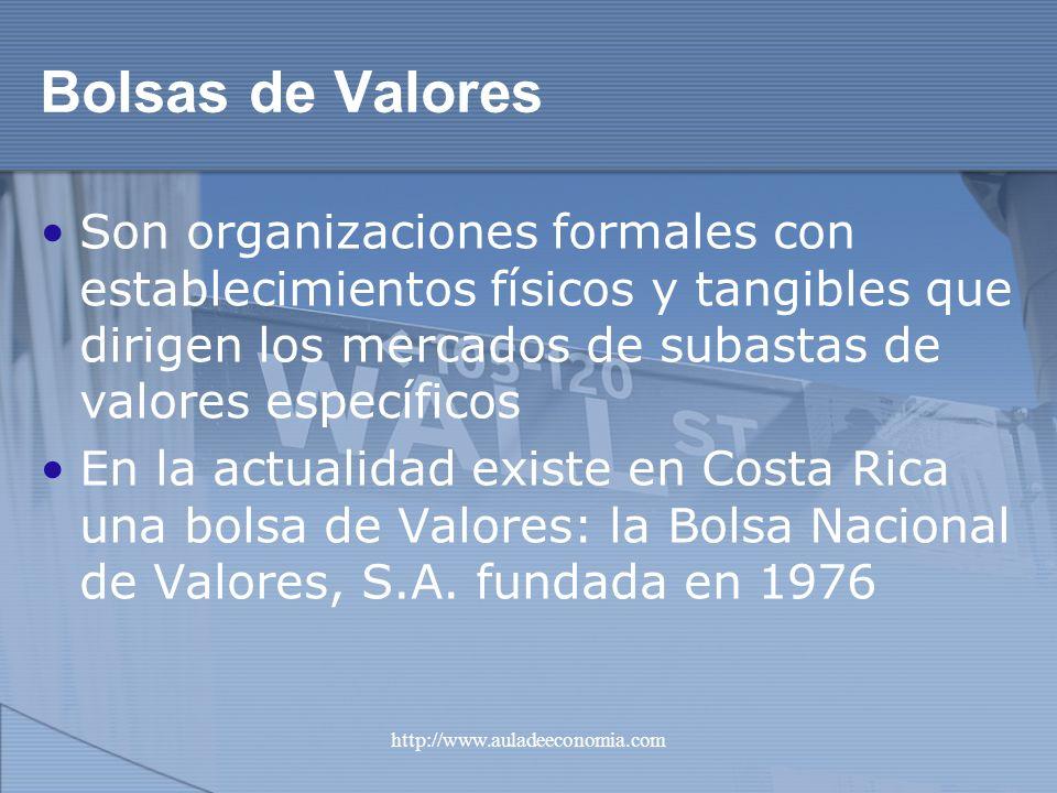 http://www.auladeeconomia.com Bolsas de Valores Son organizaciones formales con establecimientos físicos y tangibles que dirigen los mercados de subas