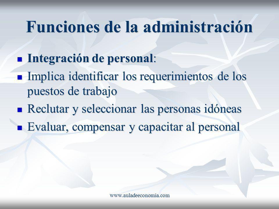 www.auladeeconomia.com Funciones de la administración Integración de personal: Integración de personal: Implica identificar los requerimientos de los
