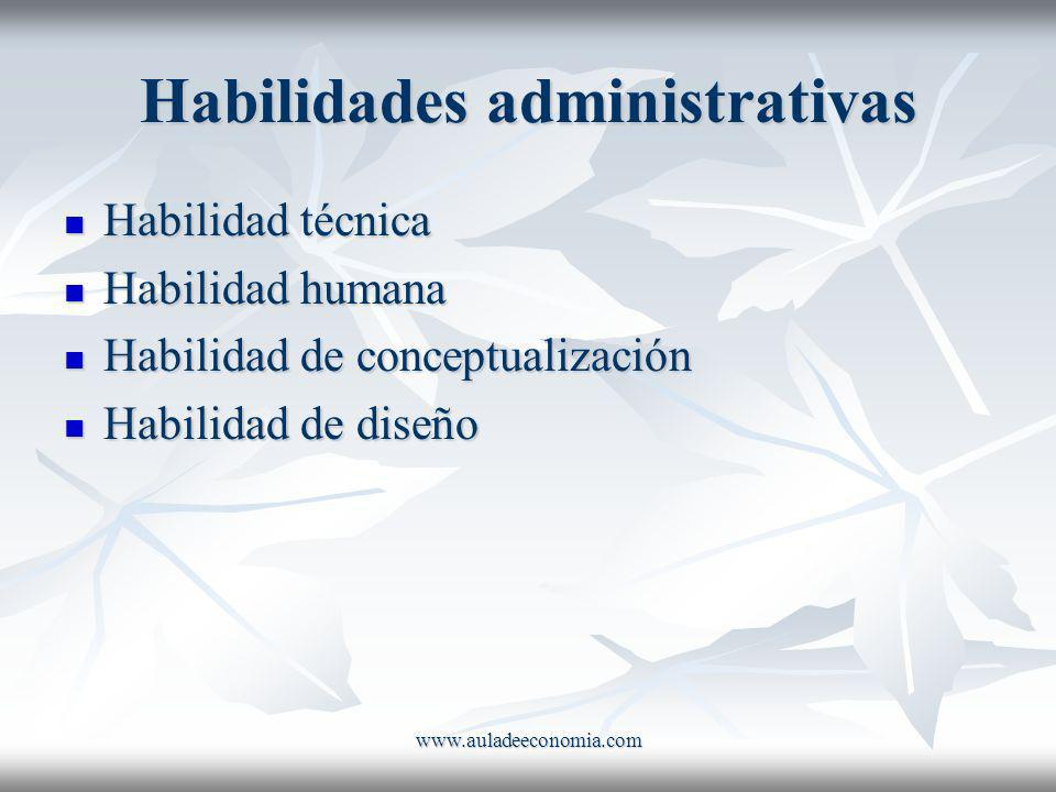 www.auladeeconomia.com Habilidades administrativas Habilidad técnica Habilidad técnica Habilidad humana Habilidad humana Habilidad de conceptualizació