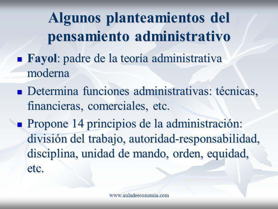 www.auladeeconomia.com Algunos planteamientos del pensamiento administrativo Fayol: padre de la teoría administrativa moderna Fayol: padre de la teorí