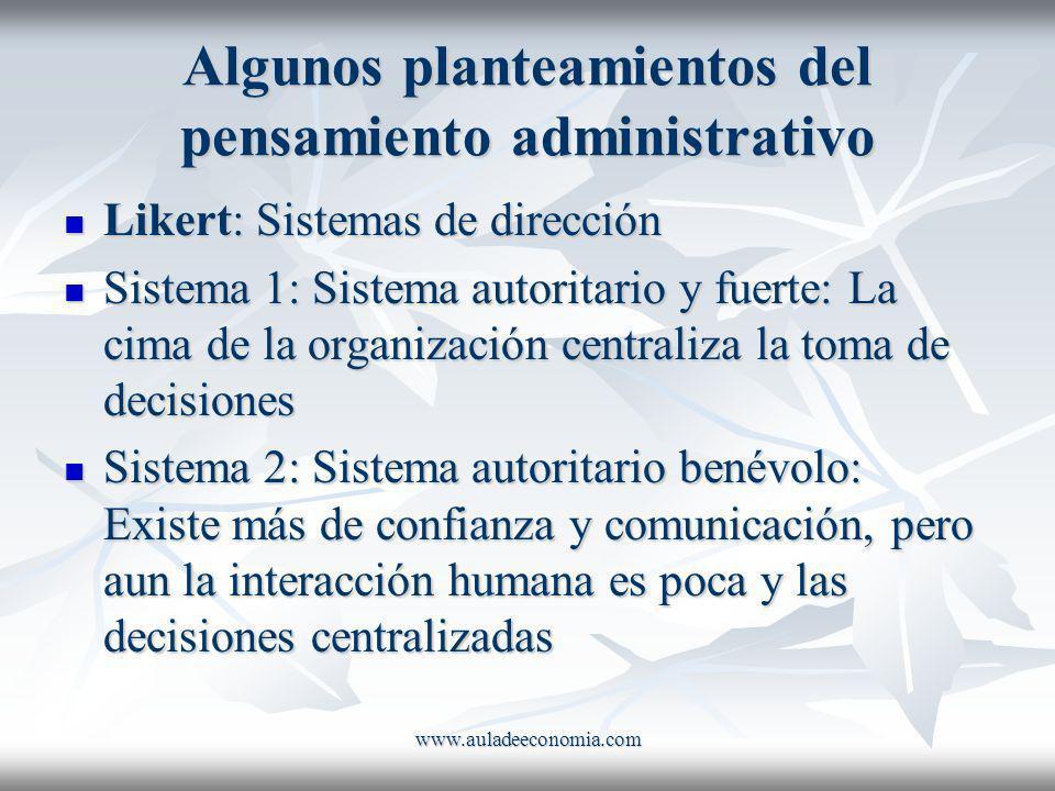 www.auladeeconomia.com Algunos planteamientos del pensamiento administrativo Likert: Sistemas de dirección Likert: Sistemas de dirección Sistema 1: Si