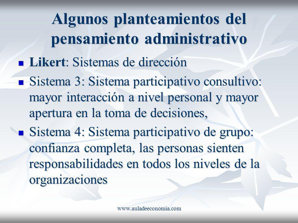 www.auladeeconomia.com Algunos planteamientos del pensamiento administrativo Likert: Sistemas de dirección Likert: Sistemas de dirección Sistema 3: Si