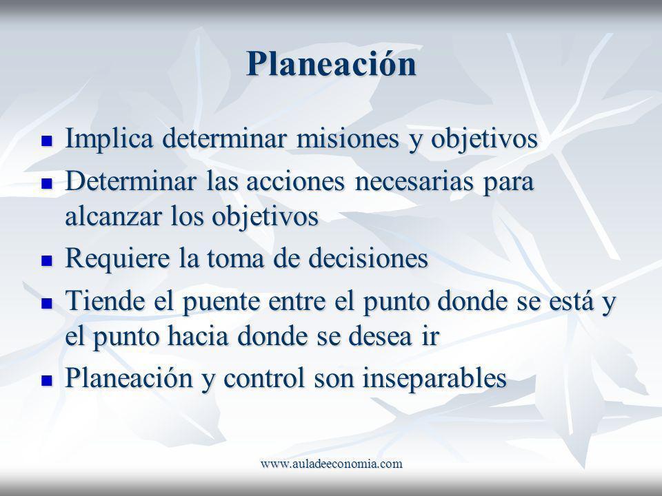 www.auladeeconomia.com Planeación Implica determinar misiones y objetivos Implica determinar misiones y objetivos Determinar las acciones necesarias p
