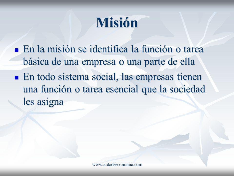 www.auladeeconomia.com Misión En la misión se identifica la función o tarea básica de una empresa o una parte de ella En la misión se identifica la fu