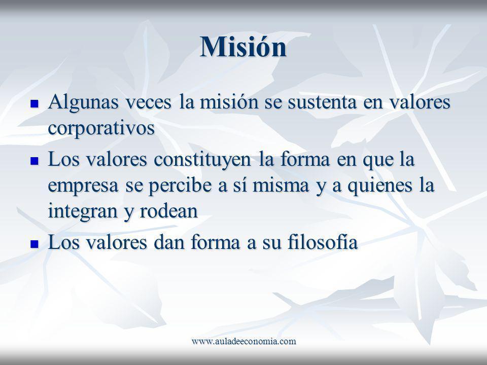 www.auladeeconomia.com Misión Algunas veces la misión se sustenta en valores corporativos Algunas veces la misión se sustenta en valores corporativos