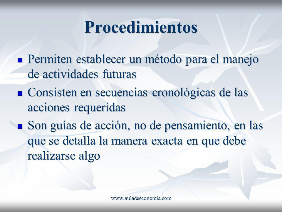 www.auladeeconomia.com Procedimientos Permiten establecer un método para el manejo de actividades futuras Permiten establecer un método para el manejo